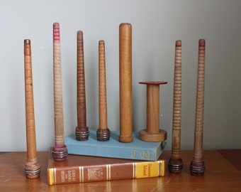 Collection of 8 Tall Wood Thread Spools, Ranging From 4.5-10 Inches, Industrial decor