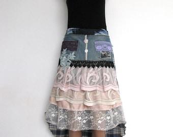 Steampunk skirt/denim recycled skirt/ooak/altered couture/recycled denim skirt/art to wear/low high hemline
