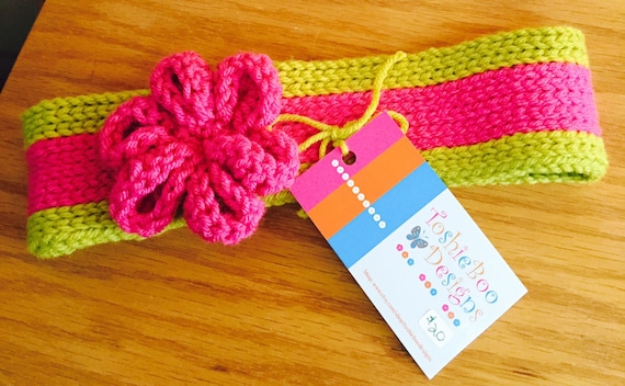 Hot Pink and Lime Ear Warmer with crocheted pink flower, and bling button on back
