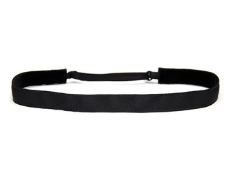 Adjustable Non-Slip Headband Black