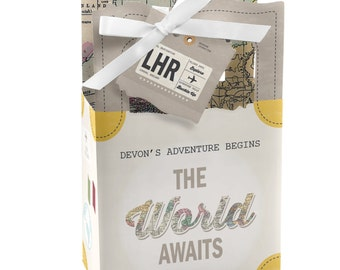 World Awaits Travel Themed Favor Boxes - Personalized Graduation, Retirement, Birthday and Prom Party Supplies - Set of 12