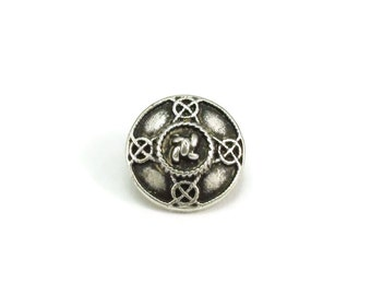 Decorative Round Metal Buttons, Metal Shank Buttons, Celtic Knot, 15mm, Antique Silver, Qty 3