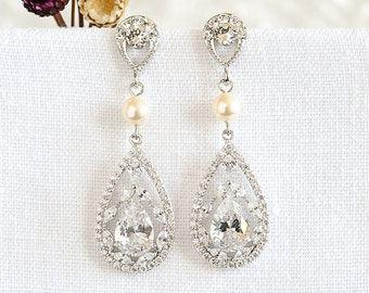 Bridal Earrings, Pearl Wedding Earrings, Crystal Teardrop Dangle Earrings, Rose Gold Wedding Earrings, Vintage Style Bridal Jewelry, CYNTHIA