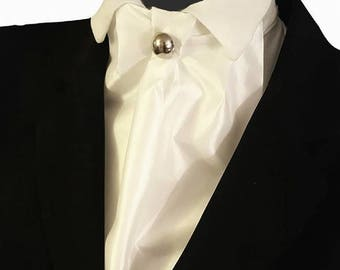 Ivory White Silky Cravat Neck Jabot Victorian Steampunk Wedding Cosplay Races Ascot Theatre Metal Button Ready To Wear Z3
