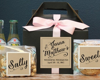 Set of 6 - Out of Town Guest Box // Wedding Welcome Box // Wedding Welcome Bag // Out of Town Guest Bag // Jenna Label Design