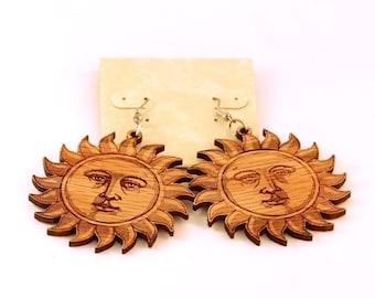 Sun Face Hook Earrings Large--Oak or Walnut
