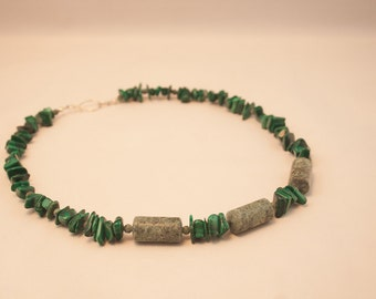 African Jasper, Malachite, Stone Necklace, Gemstone Necklace, Man's Necklace, Woman's Necklace, Beaded Necklace, Metaphysical, Green, 382