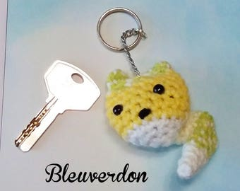 Hand crocheted yellow Fox keychain