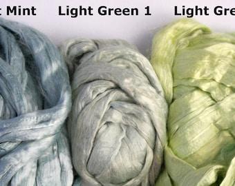 1.8 oz Viscose Fiber Extra Fine Nuno Wet Felting Supply Spinning Fiber Roving tops light green mint paper making textile art supplies bamboo