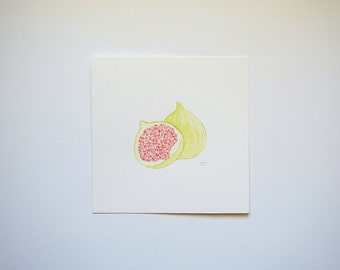 Green Fig (original watercolor painting)
