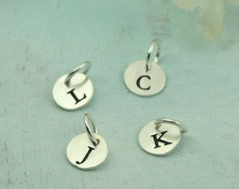 Letter Charm La Petite, initial charm, letter disc charm, sterling silver initial jewelry, initial necklace
