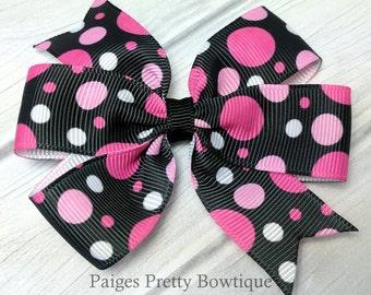 "3"" Black and Pink Polka Dot Basic Hair Bow-Alligator Clip-Baby Hair Bow-Toddler Hair Bow-Medium Hair Bow"