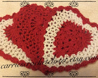 Free Shipping- Red/White Heart Dishcloth/Washcloth Set of Three- Valentine's Day