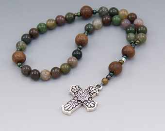 Anglican Rosary - Jasper Gemstone with Wood - Methodist Prayer Beads - Baptism Gifts - Chaplet - Item # 755