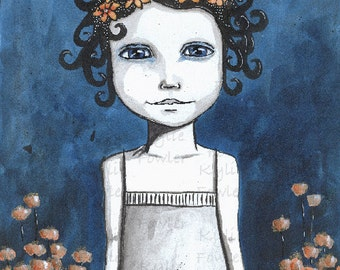Original Mixed Media Painting - 'Contemplate' Whimsical Girl Portrait