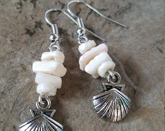 Real Shell Antique Silver Tone Drop Earrings