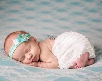 Newborn Tieback, Newborn Photo Prop, Baby Tieback, Teal White Vintage Tieback, Baby Headband