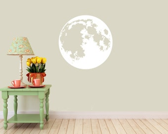 Moon vinyl Wall DECAL- Lunar space stars, sticker art, room, home decor