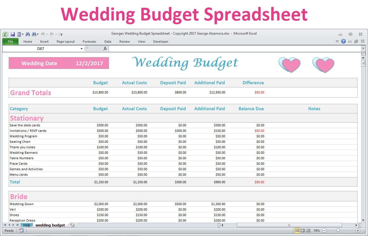Worksheets Wedding Planning Budget Worksheet wedding budget spreadsheet planner excel budget