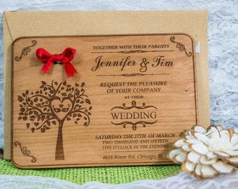 Engraved Wood Wedding Invitation 4/  Rustic Handmade Wedding Invitations/ Handmade Wedding-Invitation /  Vintage Wooden Invitation
