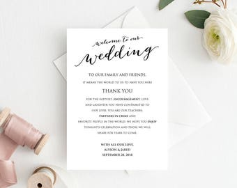 Welcome to Our Wedding Card,  Itinerary Details Thank You Information Card Template, DIY Template, Printable Wedding Card Templates
