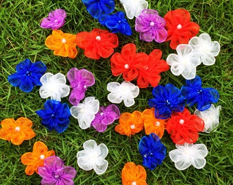 Mixed Beaded Flowers (25mm each- 50 pieces), Chiffon Flowers with Pearl, Mixed Color Flowers, Assorted Flowers, Mini Craft Flowers