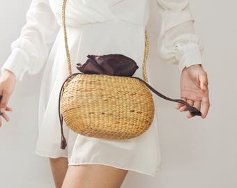 Straw bag • seagrass crossbody bag • weaving boho bag with knitting straw strap • handmade bag from the north of Thailand : Slipknot rope