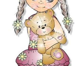 Digital (Digi) Grace with Teddy Stamp. Cute Girl. Girl Birthdays. Card Making. Paper Craft. Digital Scrapbooking. Invitations