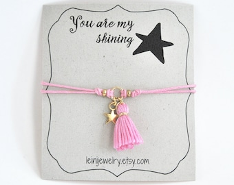 Star bracelet, wish bracelet with tassel charm and star, gift for her, pink friendship bracelet