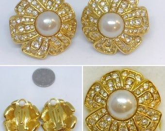 vintage floral gold and pearl clip on pearl earrings with diamontes
