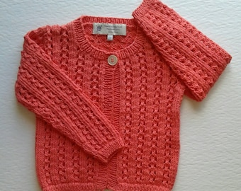 Girl's Sweater; Toddler Cardigan; Lace Sweater; Toddler Lace Sweater; Toddler Orange Cardigan; Cotton Sweater; Baby Clothes