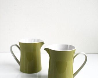Ben Seibel Mikasa Duplex Avocado Green Creamer Coffee Tea Set of 2