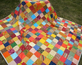 Quilts, Patchwork bed Quilt, Queen Size, 93X93, Warm Earthtone, aqua, orange, cotton blanket, decor, bedding
