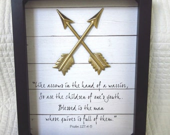 Father's Day Gift for Dad Psalm 127 Raising Arrows Bible verse - Father, Dad Christian WORD Art Wall Art Black Gold White