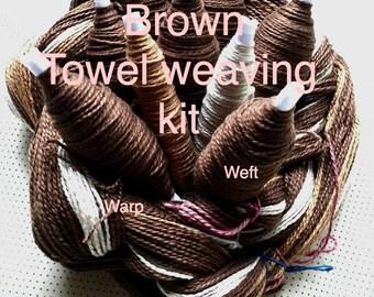 Beginner Weaving Kit, Brown Towels, Weaving Loom Kit, DIY Weaving Kit, How to Weave Kit, DIY Weaving Kit, Loom Weaving, Pre-wound Warp
