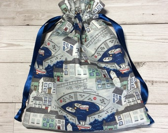 Drawstring project bag - On the Harbourside