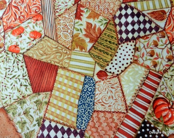 "One Fat Quarter Quilt Fabric, Fall, Cheater Cloth/Crazy Quilt, ""Let Us Give Thanks"" by Kate McRostie 4 Windham, Sewing-Quilting Supplies"