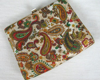 Vintage 1950s Purse 50s Paisley Lame Evening Handbag or Clutch