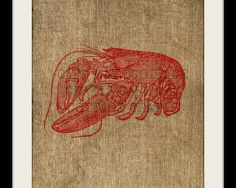 Burlap Print, Lobster
