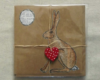 Hare and Moon Greetings Card - Handmade, MADE TO ORDER, Animals, Nature, Mythology, Pagan