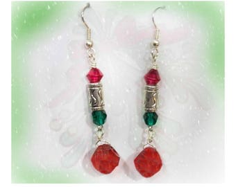 beaded Holiday earrings -Red Green Christmas earrings -red green drop earrings -Holiday Dangle Earrings,  Christmas beaded earrings, # J 17