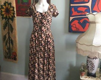 Vintage 1970s bohemian floral lace-up maxi dress gorgeous