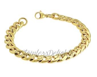 Gold Plated Link Bracelet, Men's Bracelet, Women's Bracelet, Stainless Steel, Gold, Gift for Her, Gift for Him, Budget Friendly Gift