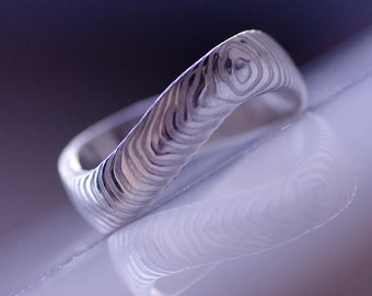 Infinity Wedding Ring, Womens ring, Mens ring - Hand forged Stainless Damascus steel wedding ring - For Ever