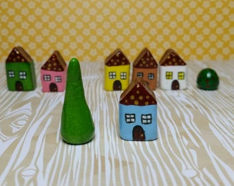 Little clay houses with polka dots in the roof. Miniature collectable home. Tiny decorative ornament.