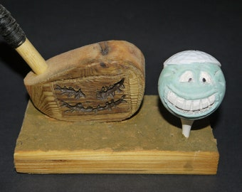 Hand Carved Golf Ball Desk set / Paperweight