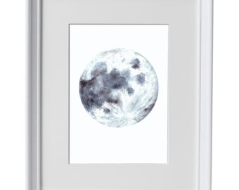 Framed Moon watercolour print