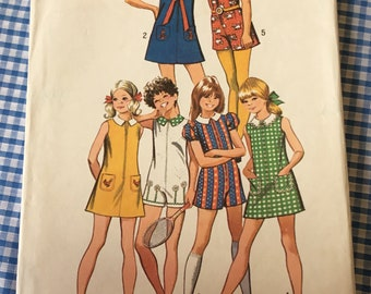 Vintage Simplicity girls dress and short pant dress 9902 size 10