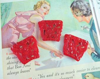 Vintage Bright Red Bakelite Buckle