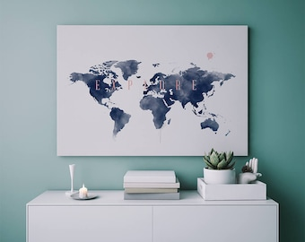 World map wall art etsy explore map watercolor modern wall art rose gold print apartment decor world gumiabroncs Gallery